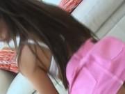 Schoolgirl in heels dildoing pussy