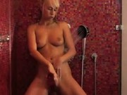 Carla in my shower with big dildo