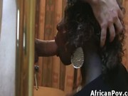 Hot horny booty ebony Lesie blows and rides white dick on homema