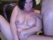 Pussy toying and cock sucking MILF with big tits