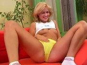 Czech blonde babe dildoing vagina