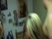 Amateur college babe gets fucked by two guys in her dorm