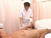 Japanese nurse gives handjob at a hospital
