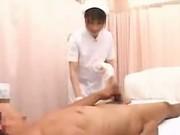 Japanese nurse gives handjob at a hospital