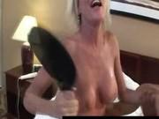 Horny blonde old MILF goes nasty ridding big black cock