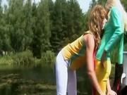 Young schoolgirl masturbate outdoors