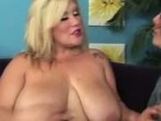 BBW Blonde massive tits strips down and rubs pussy