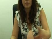 Brunette boss takes it out on employee