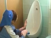 Asian toilet attendant cleans wrong public bathroom 3 by PublicJ