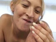 Blonde latina Abril blows and strokes cock till it cums
