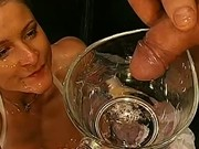 Slut drinks piss and gets bukkake in fetish gangbang