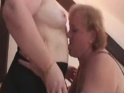 Redhead old lesbian woman fucks her also old girlfriend