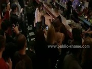 Big tits sexy ass whore humiliated in bar in front of public