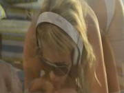 Sweet blonde with sunglases make love