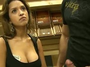 Amateur Brunette Handles Cock For Cash In Stunt