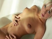 Perfect blonde in the bathroom