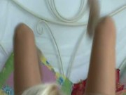 Blonde in nylons doing a great handjob