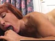 Redhead busty MILF fucks boyfriends big black cock