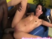 Tight horny Asian beauty fucked and cumshoted by black cock