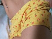 Blonde teen in pants masturbating