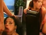 Bukkake loving girl blowjob facial