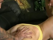 Blonde slut gets pussy fisted while she chokes on dick