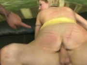 Blonde slut holes used by two angry cocks