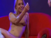 Scandal on stage threesome sex babes sharing big cock