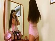 Sexy thinny brunette having fun