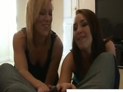 Two nasty girls are dominating a cock