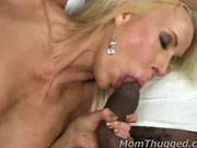 White milf sucks black dicks after taking everything in divorce