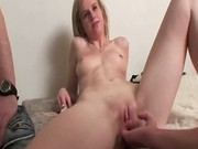 Just stare at her playing with hard cock of stranger using her m