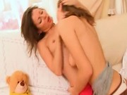 Horny lesbo chicks from Russia kissing
