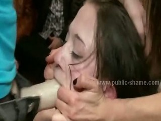 Slut with tiny tits on her knees in middle of public gets destro