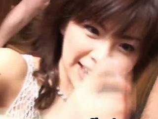 Ran Monbu Japanese model gives sensual blow job in a threesome 2