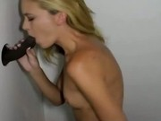 Horny gloryhole hottie gets a cumshot