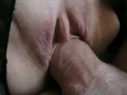Shaved wife gets her horny pussy fucked