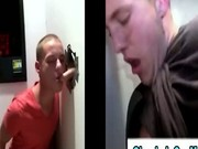 Amateur gay guy tricks straight guy into blowjob in gloryhole