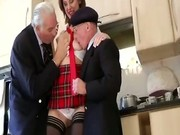 Two mature guys get a blowjob from british babe in stockings