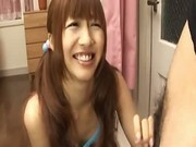 Pig-tailed oriental teen gets freaky on camera