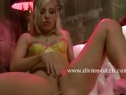 Blonde beautifull babe with perky tits and sexy ass takes her ti