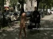 Brunette walked with her pussy naked on the streets in public se