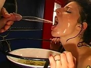 Dirty slut drinks piss and gets bukkake and gets a goldenshower