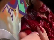 Posh fetish blonde gets bukkake from fake dick