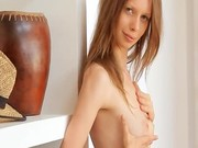 Small breasts of skinny super girl