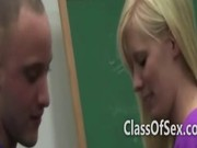College blonde in class hand job then she sucks him on the desk