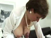 Mature british slut Lady Sonia gets oiled up for hot action