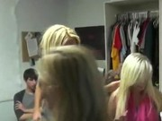 Blonde Stripper Teasing Cocks At Dorm Room Party