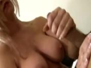 Busty blond bombshells blows his hard dick to make him cum