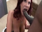 MILF gets put on her knees to fuck black cock